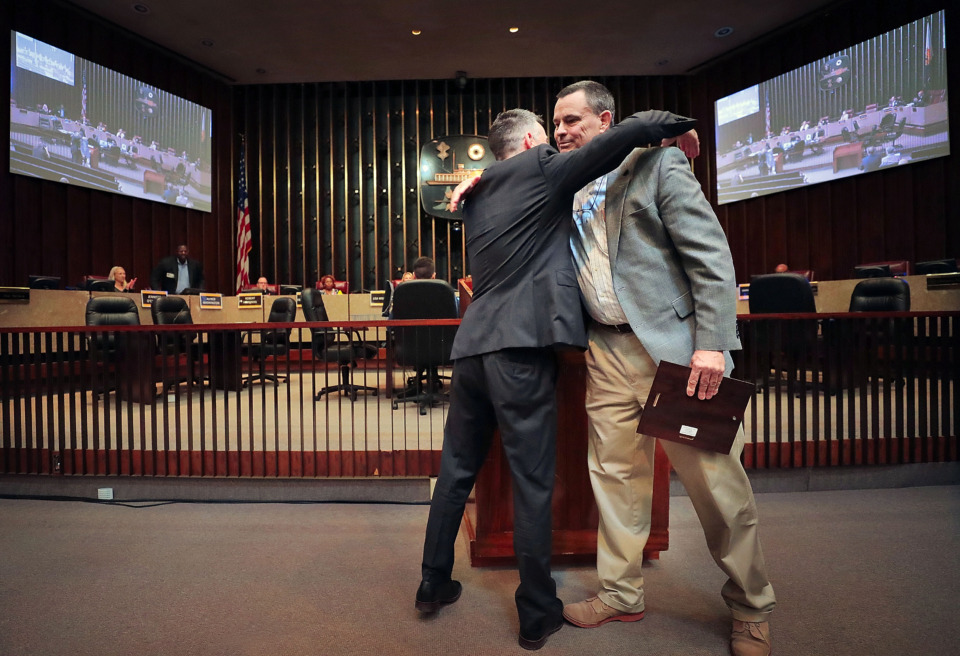 <strong>Former Memphis and Shelby County Land Use Control Board chairman Jon McCreery is recognized for his service during a meeting at City Hall on Thursday, April 11.</strong>&nbsp;<strong>As chair, he had a near-perfect attendance record.</strong> (Jim Weber/Daily Memphian)