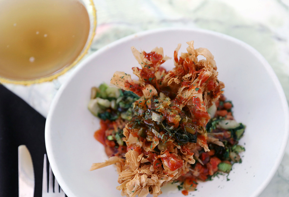<strong>Farm-raised phyllo fringe catfish with Mississippi caviar, saut&eacute;ed bok choy, and chowchow relish.</strong> (Patrick Lantrip/Daily Memphian)