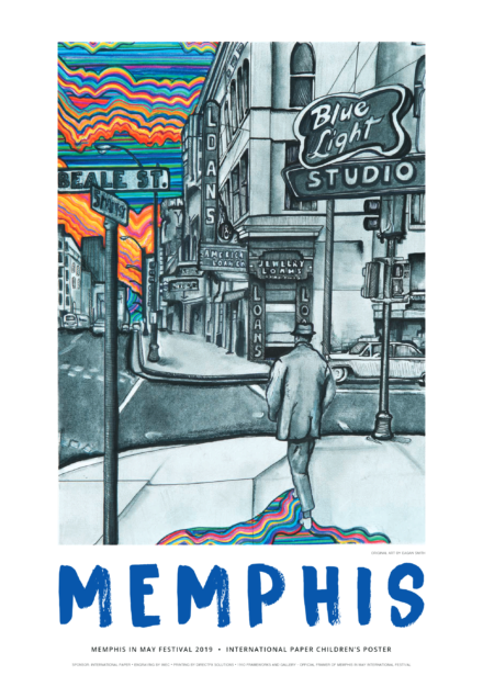 "<p style=""text-align: left;""><strong>Smith&rsquo;s poster &ldquo;Jazzy Jim"" is her take on a 1950s-era black and white photo taken of a man passing the old Blue Light Studios sign at the corner of South Main and Beale Street in Downtown Memphis.</strong>&nbsp;(Courtesy of Memphis in May International)"