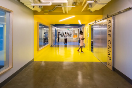 "<strong>ANF Architects' design for Crosstown High features eight ""base camps,"" each with its own vibrant color.</strong> (Photo courtesy of ANF Architects)"