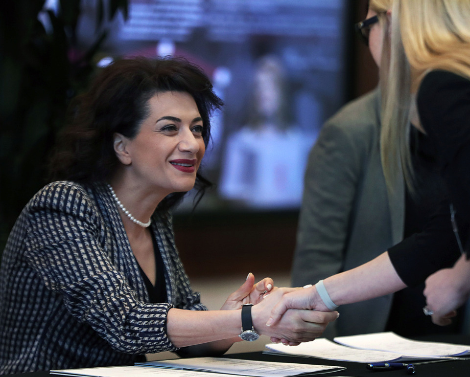 <strong>Anna Hakobyan, wife of Armenian Prime Minister Nikol Pashinyan, was in Memphis Friday, April 12 to sign an agreement with St. Jude Children&rsquo;s Research Hospital.</strong> (Patrick Lantrip/Daily Memphian)