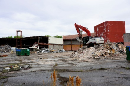 <strong>Parts of the former Delta Square shopping center at 5050 American Way are being demolished to make room for the $83.6 million JNJ Express facility in Parkway Village.</strong> (Tom Bailey/Daily Memphian)