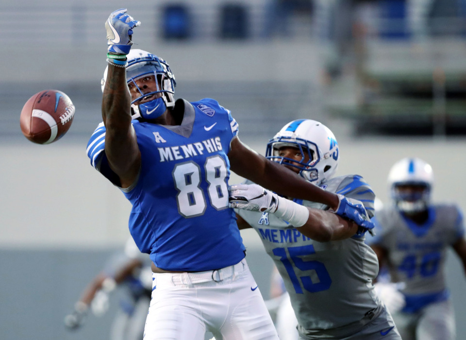<strong>University of Memphis tight end Tyce Daniel (88) drops a pass during the annual Friday Night Stripes scrimmage on Friday, April 12, 2019. The Tigers defense started the game by forcing two three-and-outs before the offense could score.&nbsp;</strong>(Houston Cofield/Daily Memphian)