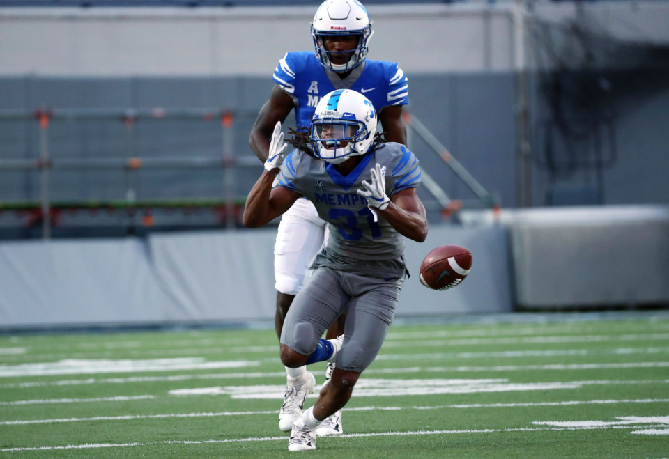 <strong>University of Memphis defensive back Chris Claybrooks (31) reacts to dropping what would have been an interception during the annual Friday Night Stripes scrimmage on April 12, 2019. Claybrooks recorded one pass breakup and a big hit on a pass play.</strong> (Houston Cofield/Daily Memphian)