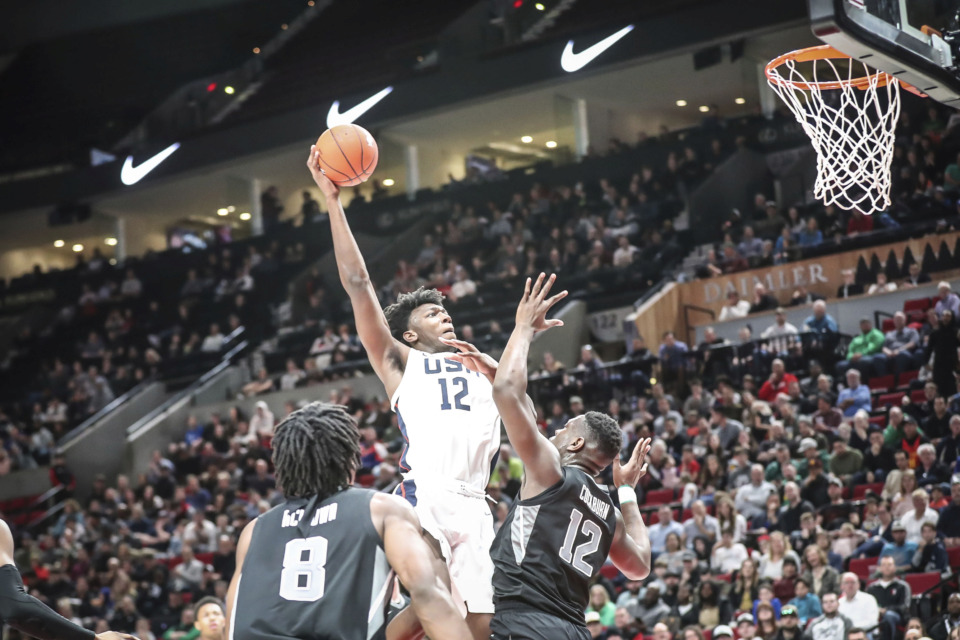<strong>USA center James Wiseman goes up for a shot during the Nike Hoop Summit, Friday, April 12, 2019, at the Moda Center in Portland, Oregon.</strong> (Serena Morones/The Oregonian via AP)