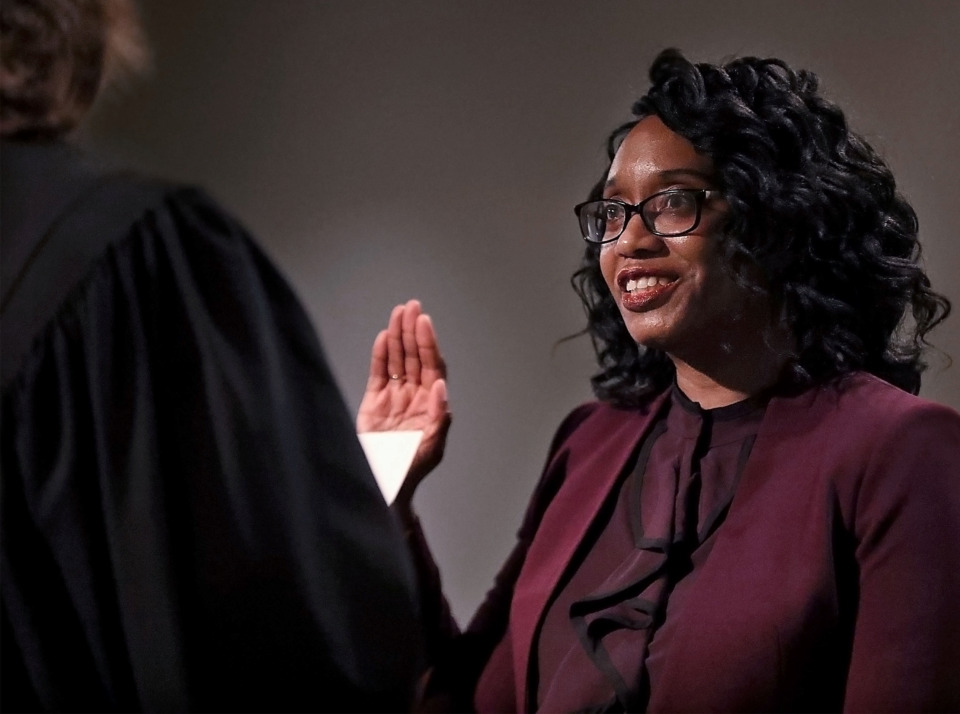 <strong>Phyllis Aluko was sworn in as Shelby County chief public defender Tuesday, April 16, 2019. Aluko, who has spent 25 years with the public defender's office, is the first woman chosen to lead the agency.</strong> (Patrick Lantrip/Daily Memphian)