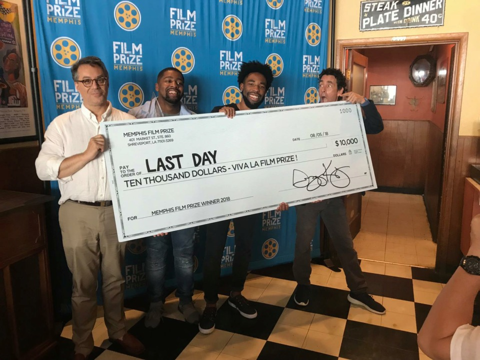<strong>Memphis resident Kevin Brooks (third from left) was the 2018 Memphis Film Prize grand prize winner.&nbsp;</strong><span>(Courtesy of Chris Lyons)</span>