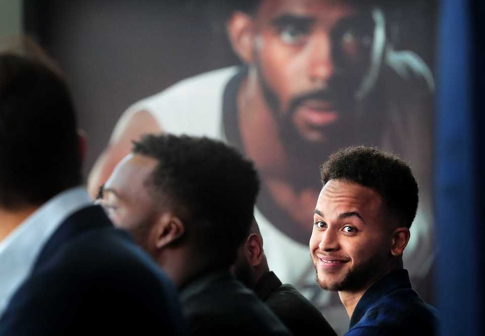 Kyle Anderson at his introductory news conference at FedExForum on September 17, 2018. (Jim Weber/Daily Memphian)