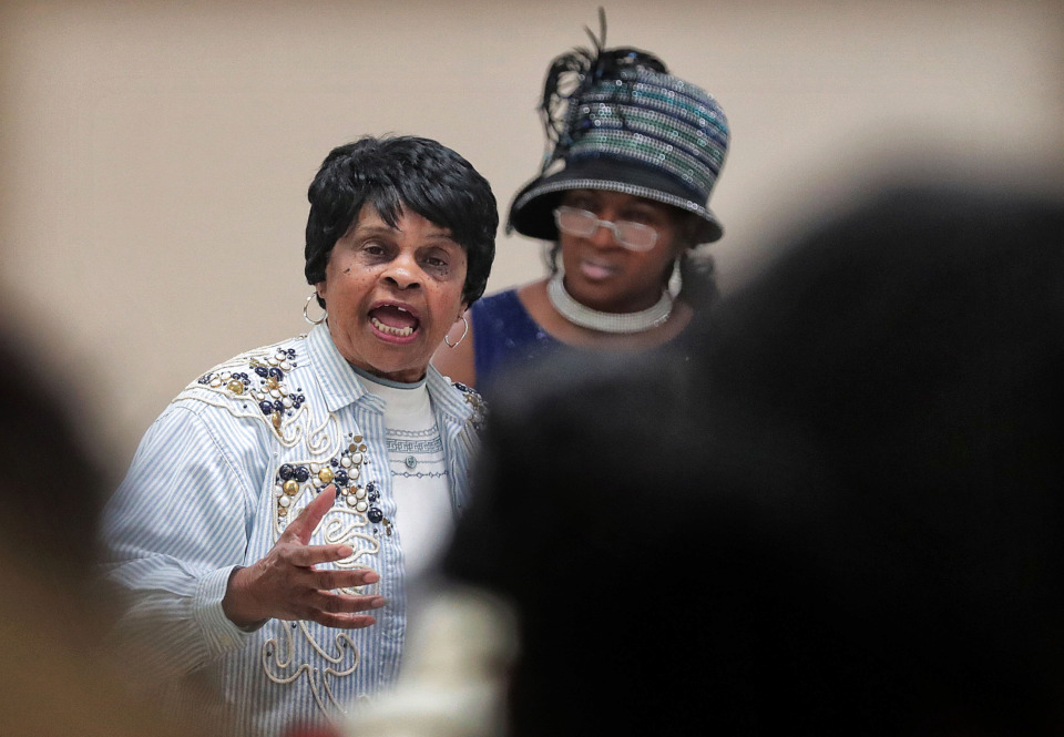 <strong>Maxine Thomas Marsh speaks on behalf of South Memphis residents during a public meeting April 17, 2019, at the Dave Wells Community Center to discuss issues with the Memphis 3.0 plan.</strong> (Jim Weber/Daily Memphian)