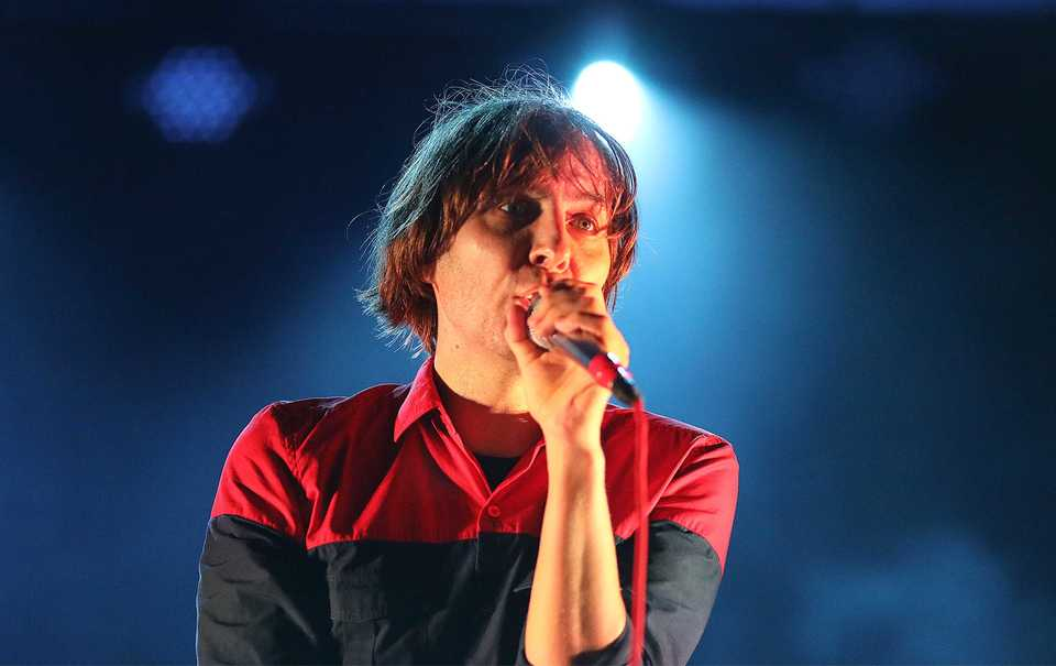 Thomas Mars of Phoenix performs at the Mempho Music Fest on Saturday.(Patrick Lantrip/Daily Memphian)