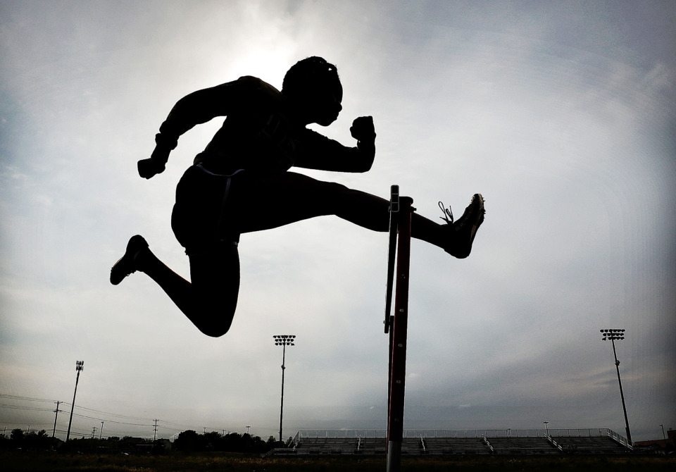 <strong>Southwind hurdler Tyra Nabors practices form during a workout at Southwind High School on April 17, 2019. The Southwind girls track team is well-positioned as the defending state champs with enough talent for a repeat performance.</strong> (Jim Weber/Daily Memphian)