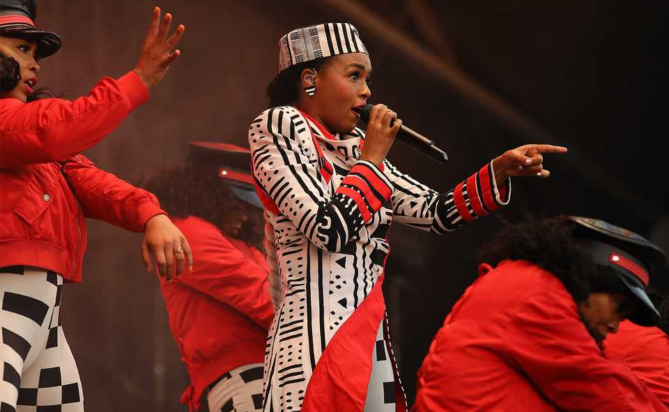 Janelle Monáe performs at the Mempho Music Fest on Saturday. (Patrick Lantrip/Daily Memphian)