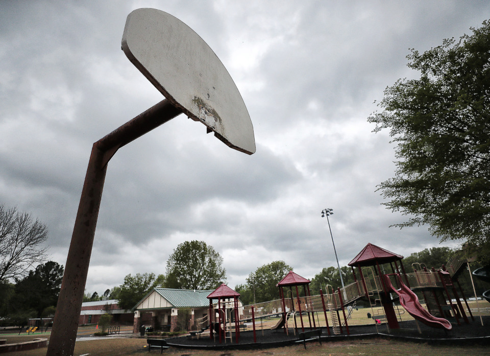 "<strong>Basketball courts at Farmington Park in Germantown are being dismantled due to complaints by residents about ""adult behavior"" in what neighbors want to be a family-friendly environment.</strong> (Jim Weber/Daily Memphian)"