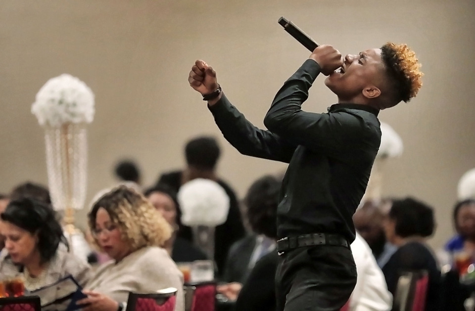 <strong>Gospel singer Nehemiah Harris performs for local leaders and NAACP members during the Freedom Fund luncheon on Saturday, April 20, 2019, at Guest House at Graceland.</strong> (Jim Weber/Daily Memphian)