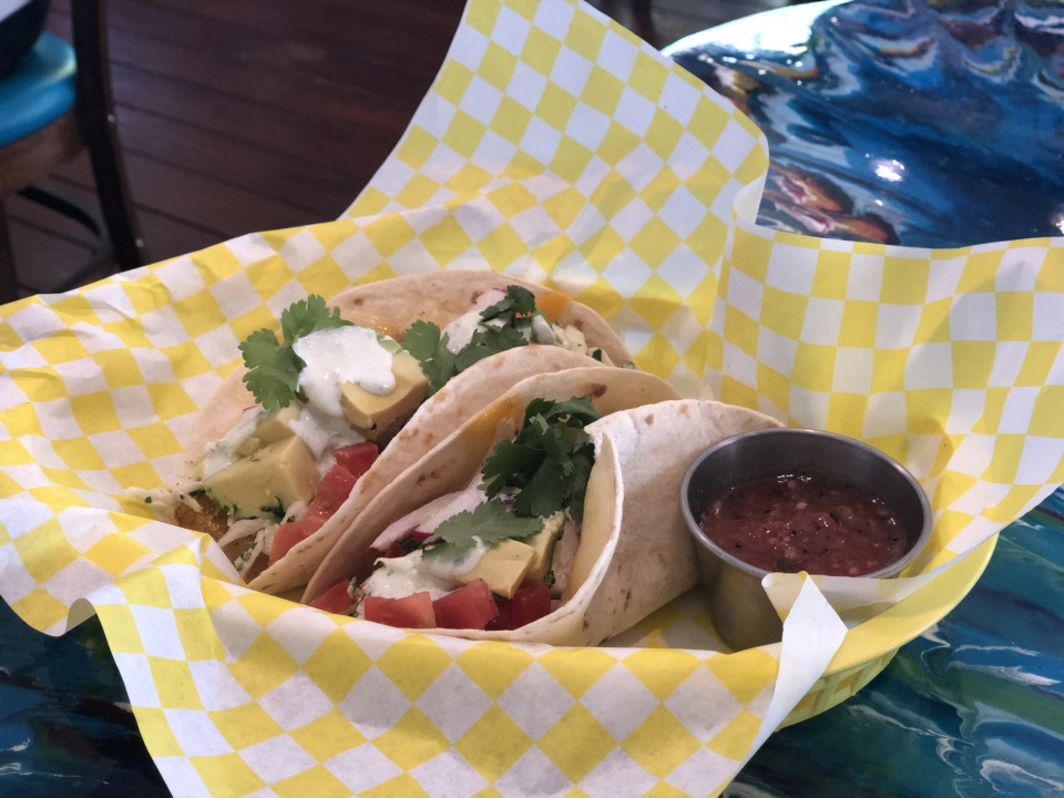 <strong>Fried green tomato tacos are $8 on the new weekday lunch menu at Elwood's Shells.</strong> (Jennifer Biggs/Daily Memphian)