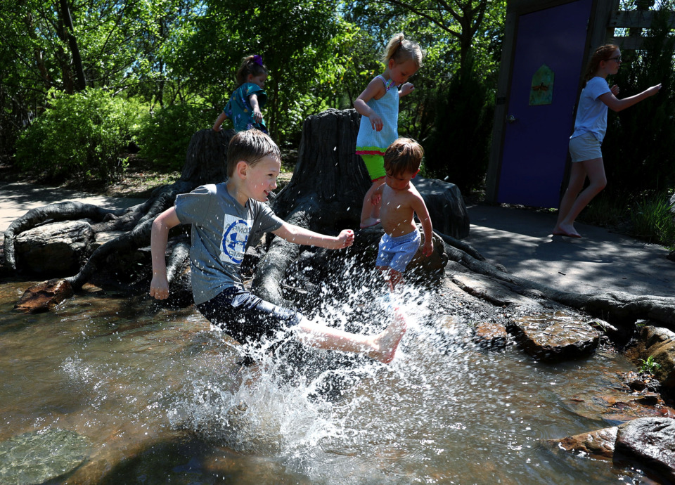 <strong>Lucas Walters, 7, celebrates Earth Day with his friends at Memphis Botanic Garden on Monday, April 22, 2019. MBG staff announced on Earth Day they will be growing the living campus with a $6 million multiphase development.</strong> (Houston Cofield/Daily Memphian)