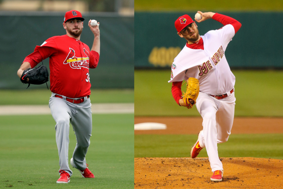 <strong>Austin Gomber pitches during the St. Louis Cardinals' spring practice in February (left), and with the Memphis Redbirds less than two months later. Gomber, who pitched in 29 games for the Cardinals last season, is back in Triple-A now and was named Pacific Coast League Pitcher of the Week on Monday.&nbsp;</strong>(Left:&nbsp;AP Photo/Jeff Roberson; Right: Photo courtesy of Memphis Redbirds)