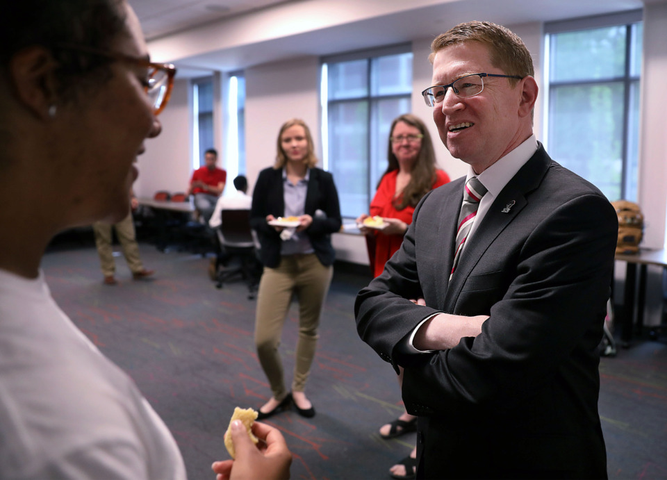 <strong>Newly named Christian Brothers University president Jack Shannon speaks with CBU senior Chase Encalade after a Tuesday, April 23, 2019, press conference announcing his presidency.</strong> (Patrick Lantrip/Daily Memphian)