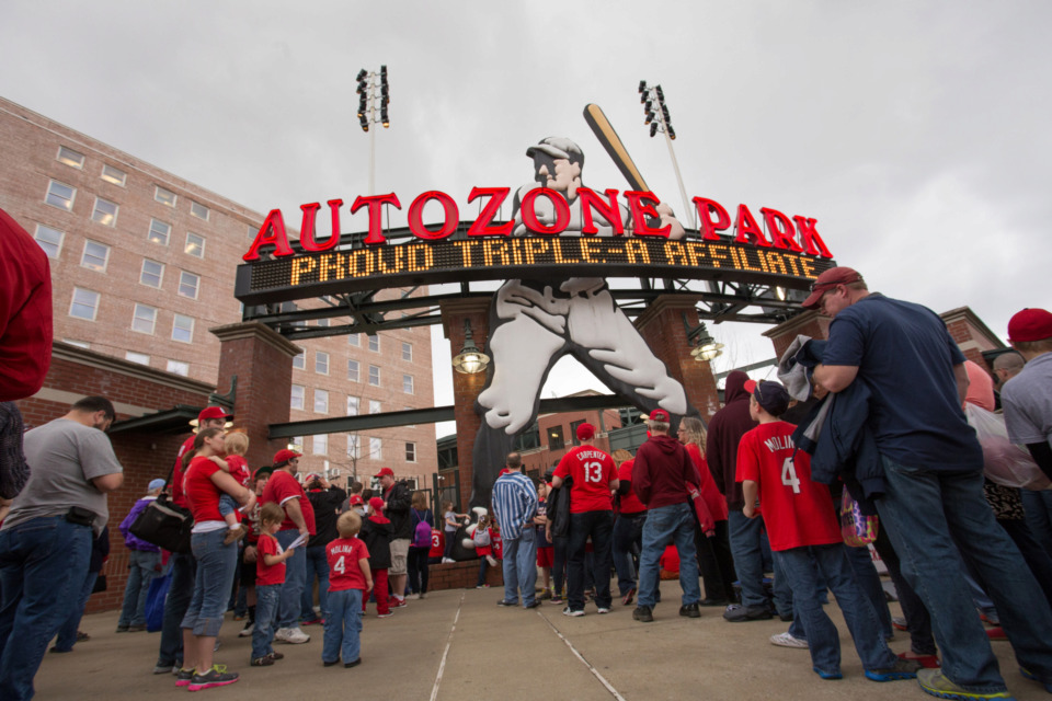 <strong>For nearly two decades, Nostalgia Man stood astride the entrance to AutoZone Park.</strong> (Daily Memphian file photo)