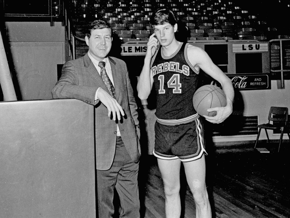 <strong>Ole Miss Rebels basketball coach Cob Jarvis (left) poses with star player Johnny Neumann during a practice session at the University of Mississippi campus in Oxford on March 12, 1971.</strong>&nbsp;<strong>Neumann, whose high school career at Overton led to a record-setting career at Ole Miss, has died in Oxford.</strong> (AP Photo)