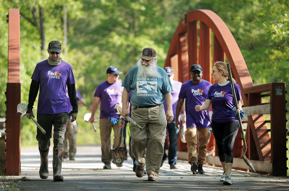 <strong>The Wolf River Conservancy's Jim Gafford (center) takes employees from FedEx out to plant trees as groups of volunteers help spruce up a new section of the Wolf River Greenway in Raleigh on April 24, 2019, in preparation for a grand opening Saturday.</strong> (Jim Weber/Daily Memphian)