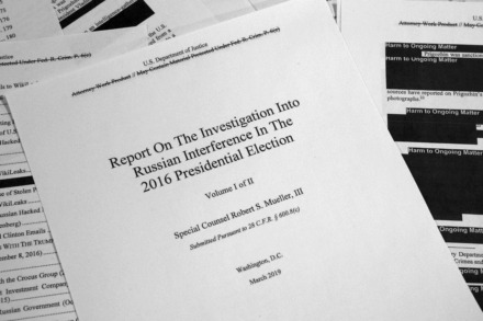 <strong>Special counsel Robert Mueller's redacted report on Russian interference in the 2016 presidential election as released on Thursday, April 18, 2019, is photographed in Washington.</strong> (AP Photo/Jon Elswick)