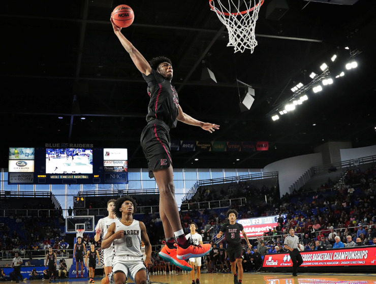 <strong>East High School's James Wiseman makes a break-away dunk during East's TSSAA Class AAA state basketball finals game against Bearden at MTSU in Murfreesboro on March 16, 2019.</strong> (Jim Weber/Daily Memphian file)