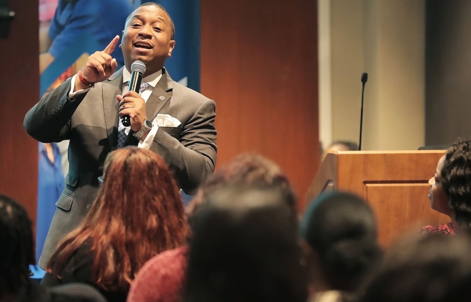<strong>Shelby County Schools interim Superintendent Joris Ray talks to a group of University of Memphis education majors during a teacher recruiting event April 18, 2019, at the U of M's Michael D. Rose Theatre.&nbsp;</strong>(Jim Weber/Daily Memphian)