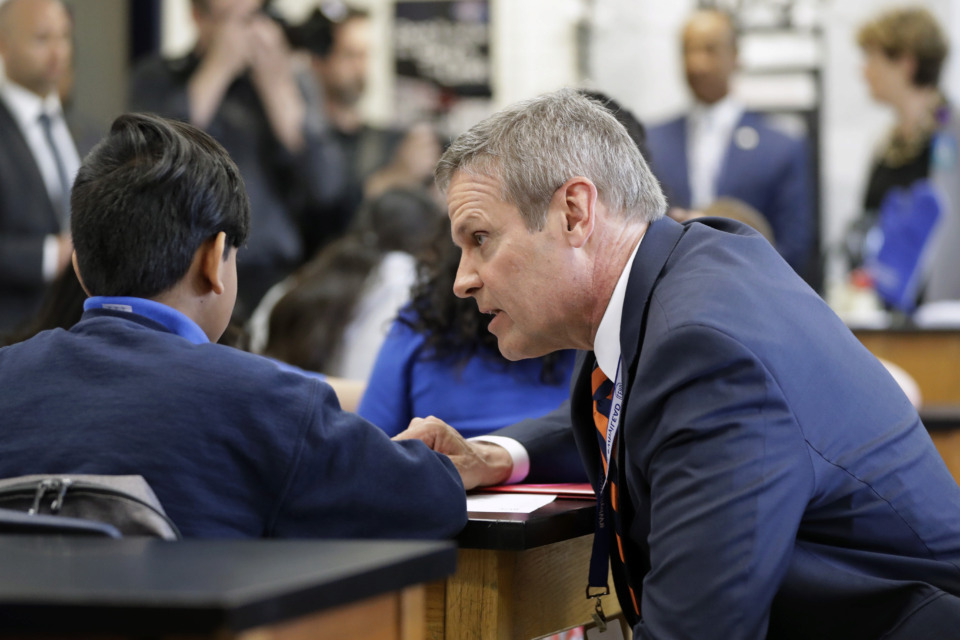 <strong>Tennessee Gov. Bill Lee talks with students during a visit to Cameron Middle School Monday, April 1, 2019, in Nashville, Tenn.</strong> (Mark Humphrey/AP file photo)