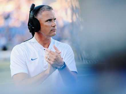 <strong>Tigers head coach Mike Norvell cheers for his team following the first Tigers touchdown in the Georgia State game on Sept. 15, 2018.</strong> (Houston Cofield/Daily Memphian)