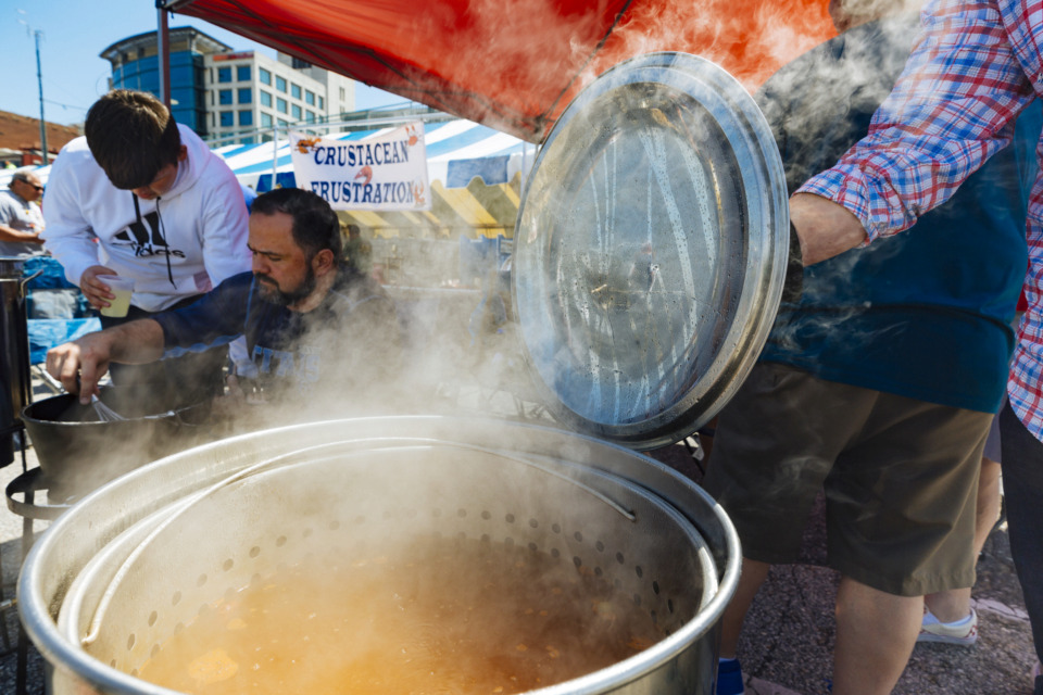 <strong>Matt Millican of the 38053 prepares roux for gumbo at the 27th annual Rajun Cajun Crawfish Festival in Downtown Memphis on Sunday.</strong> (Ziggy Mack/Special to the Daily Memphian)