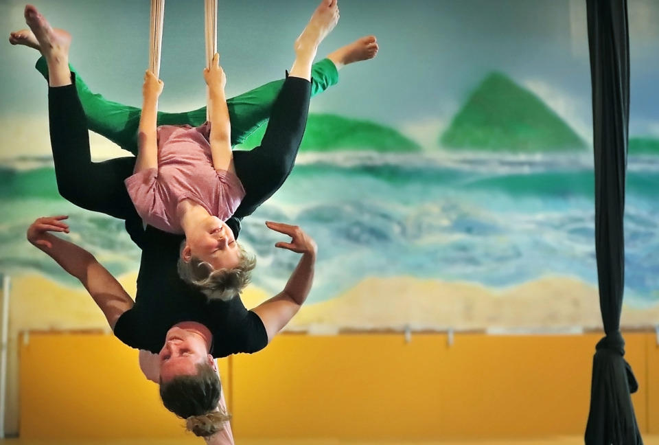 <strong>Caroline Vance and her son Ander Murray, 7, perform during class at High Expectations Aerial Arts near Broad Avenue. Sarah Bolton has recently taken the reins at the aerial, acrobatic and jiujitsu studio&nbsp;<span>located in a warehouse at 144 Cumberland St</span>.</strong> (Jim Weber/Daily Memphian)