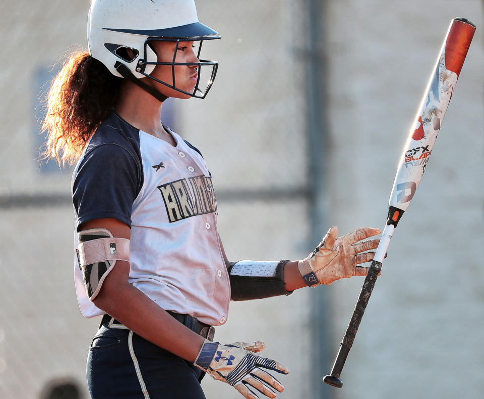 <strong>Autumn Belviy reacts to a strike at the plate as Arlington finishes a 19-game winning streak with a loss to St. Benedict at Arlington High School on April 26, 2019.</strong> (Jim Weber/Daily Memphian)