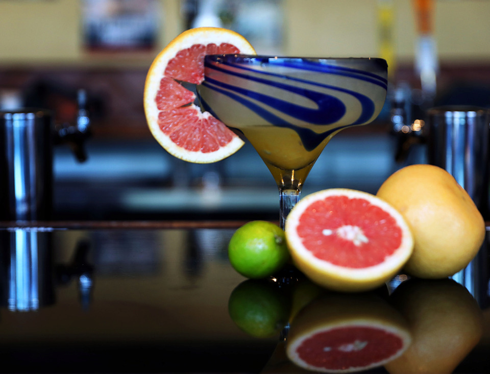 "<strong>Although it appears to be anything but, a ""skinny"" margarita, the skinny margarita at Las Margaritas is made only made with freshly-squeezed fruit, tequila, Solerno blood orange liqueur and triple sec.</strong> (Patrick Lantrip/Daily Memphian)"