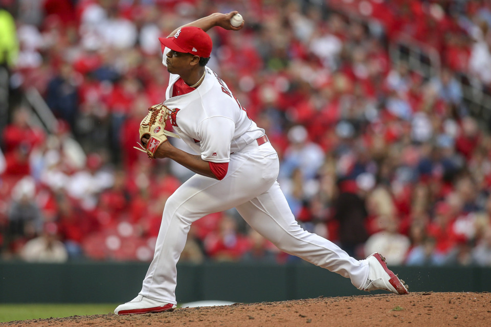 <span><strong>Relief pitcher Alex Reyes throws during the seventh inning of the St. Louis Cardinals' game against the San Diego Padres on Friday, April 5, 2019, in St. Louis. Reyes fractured his left pinkie April 25 punching a wall after leaving a Redbirds game against Omaha.</strong>&nbsp;(AP Photo/Scott Kane)</span>