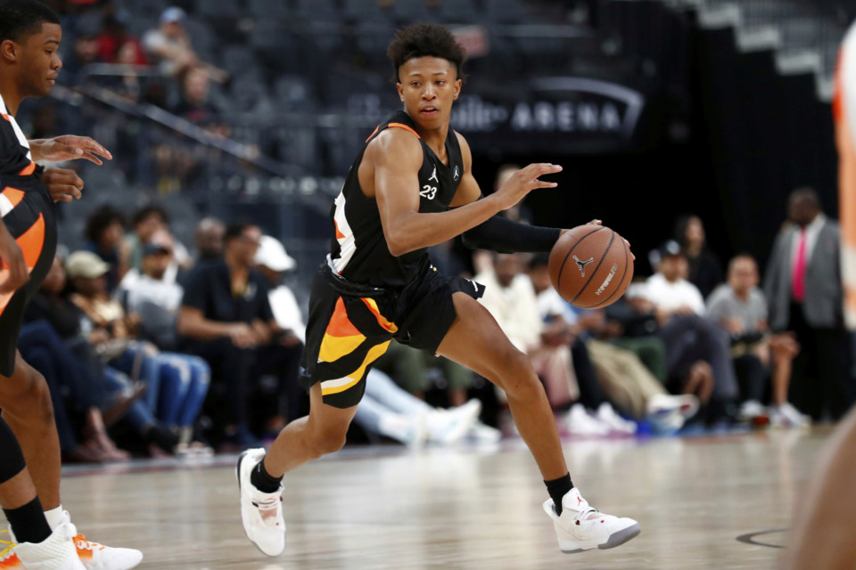 <strong>Boogie Ellis dribbles the ball during the 18th Annual Jordan Brand Classic boys basketball game on April 20, 2019 at T-Mobile Arena in Las Vegas.&nbsp;The five-star point guard from San Diego is requesting a release from his letter of intent to attend Duke and may go to Memphis instead.</strong> (Jeff Speer/Icon Sportswire via Associated Press)
