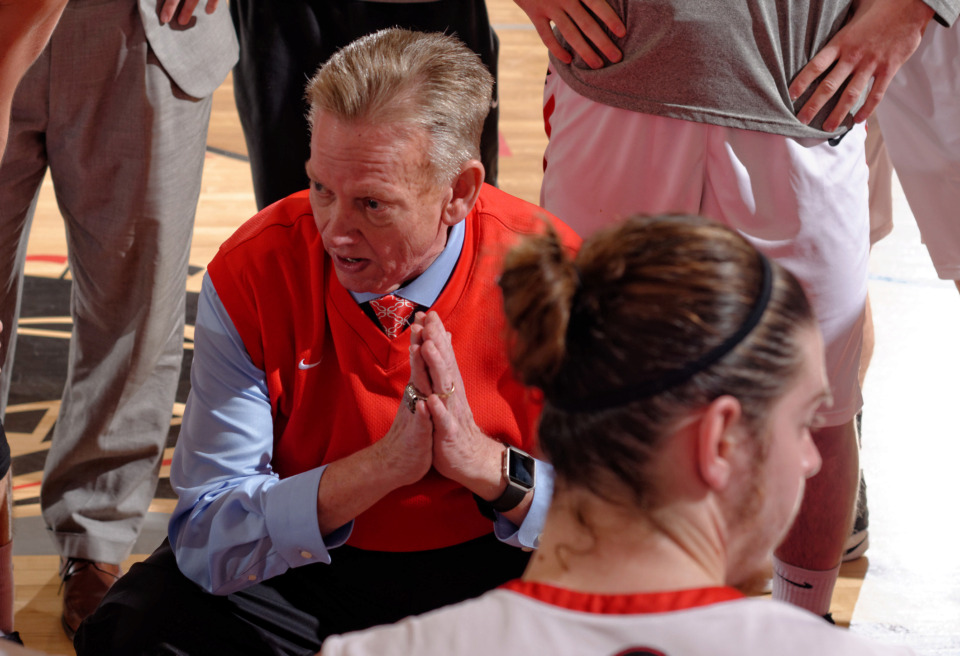 <strong>CBU basketball coach Mike Nienaber, shown during a team practice in 2016, stepped down&nbsp;Thursday after 20 seasons with the Bucs. He was the winningest coach in school history.&nbsp;</strong>(Photo courtesy of CBU Athletics)
