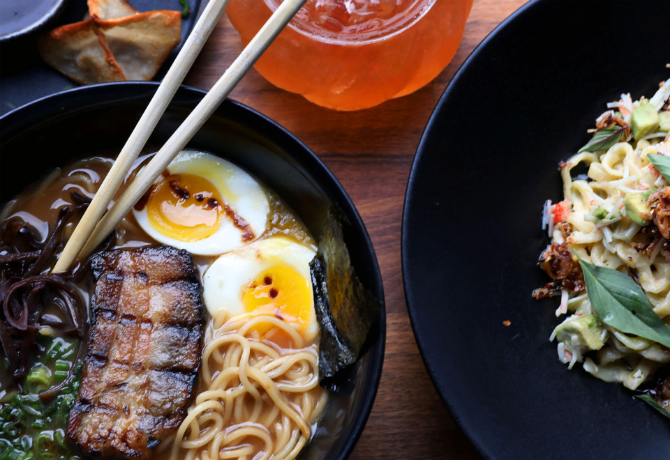 <strong>In addition to their eponymous ramen dishes, Lucky Cat Ramen offers a number of appetizers like the pork dumplings, fried chicken bao and pork belly bao.</strong> (Patrick Lantrip/Daily Memphian)