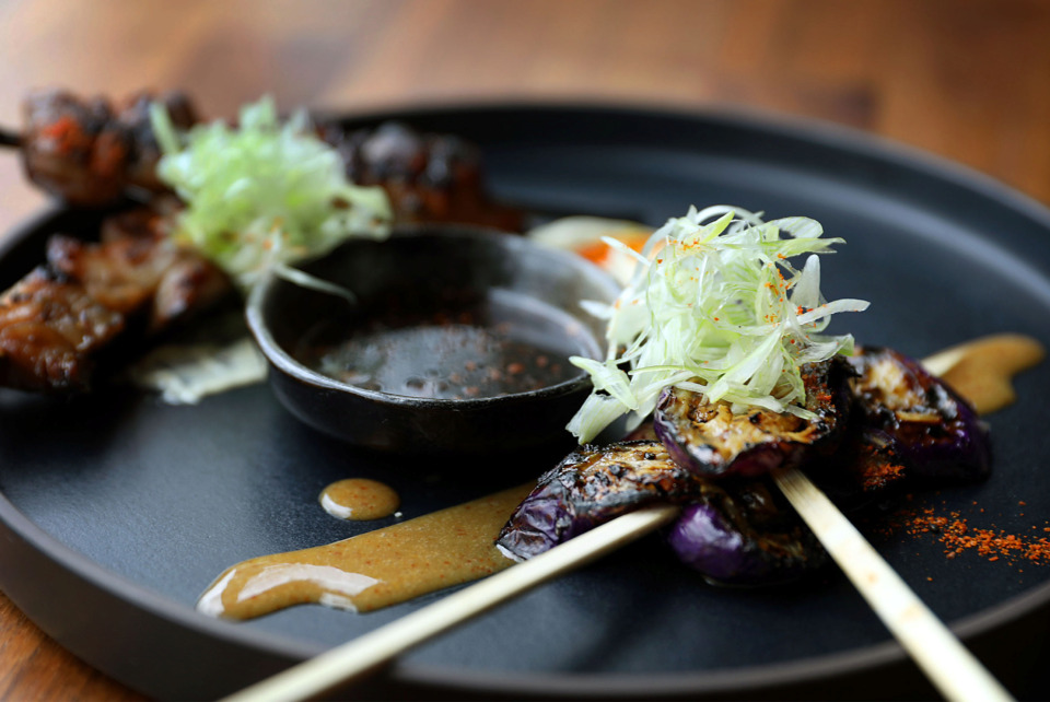 <strong>Yakitori chicken thigh skewers and Japanese eggplant skewers with sweet shio miso.</strong> (Patrick Lantrip/Daily Memphian)