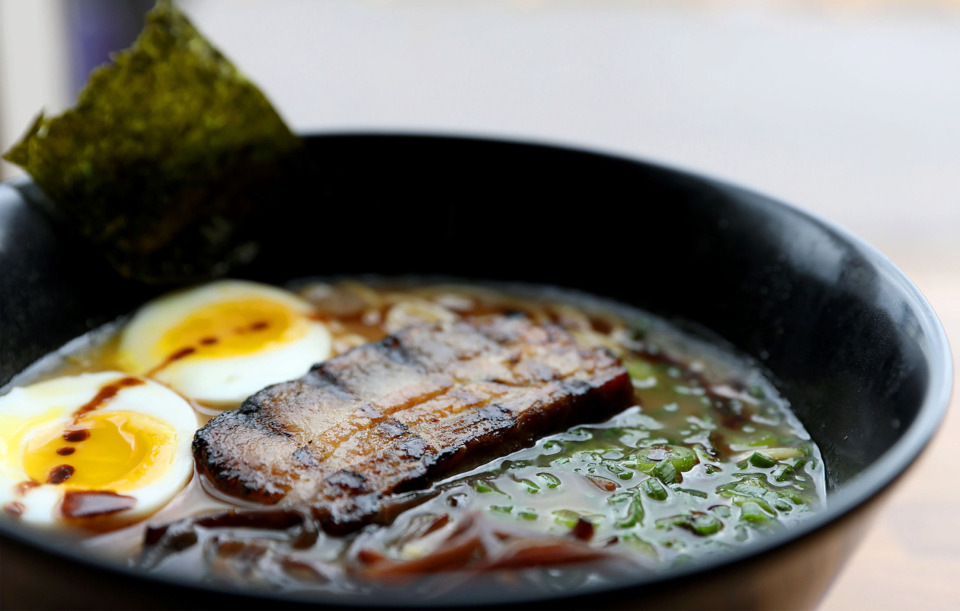 <strong>Yakitori pork belly shoyu ramen, a traditional Japanese treat made by Lucky Cat.</strong> (Patrick Lantrip/Daily Memphian)