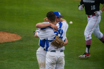 "<strong>Memphis senior catcher Jason Santana embraces junior pitcher&nbsp;Takoda Metoxen during a game against Houston on March 29, 2019, at FedExPark.&nbsp;&ldquo;He&rsquo;s even-keeled on the outside, but I can pick up on little things on the inside, pick up on things that are going on,"" Santana says of his ability to read Metoxen.&nbsp;</strong>(Photo courtesy of Matthew Smith/University of Memphis Athletics)"