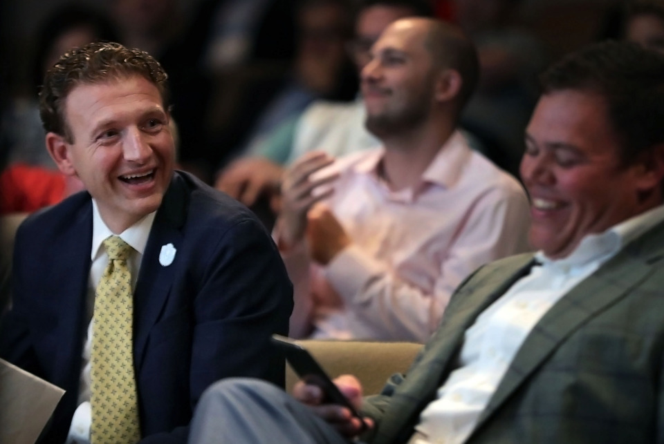 <strong>Craig Unger laughs at a joke during his introduction at the Economic Impact of Sports seminar presented by The Daily Memphian at the Memphis Brooks Museum of Art Thursday, May 2, 2019.</strong> (Patrick Lantrip/Daily Memphian)