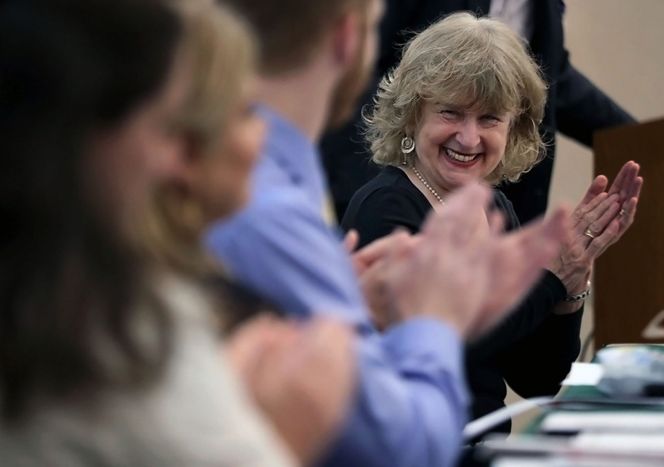 <strong>Renate Rosenthal, assistant dean of Behavioral Sciences Integration at the University of Tennessee Health Science Center, laughs at a joke made by fellow panelist Clay Jackson at the 2019 Student Clinician's Ceremony on Thursday, May 2, 2019. Rosenthal says writing can help medical students process their feelings and experiences.</strong> (Patrick Lantrip/Daily Memphian)