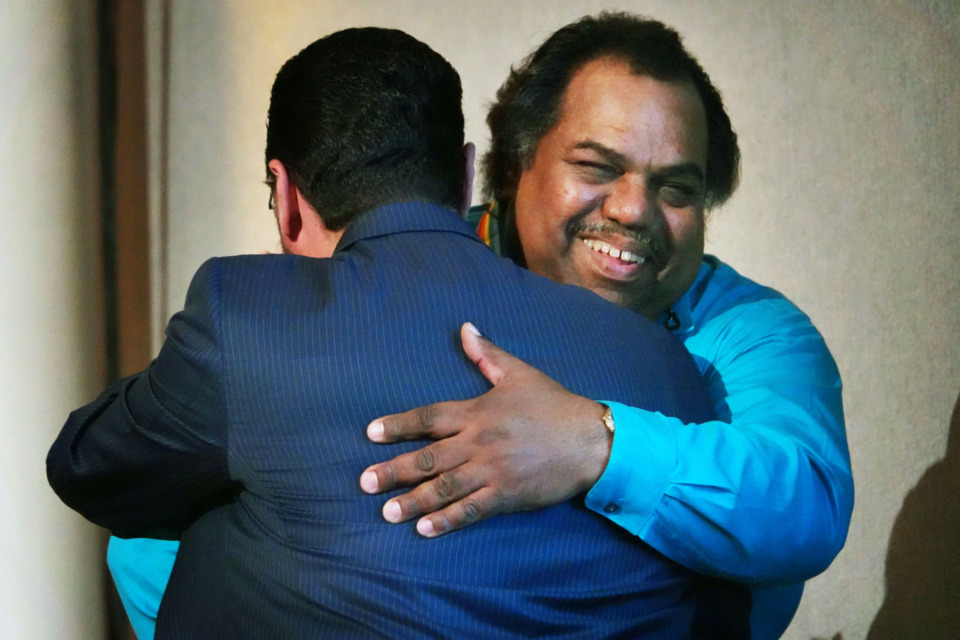 "<p class=""p1""><strong><span class=""s1"">Daryl Davis&nbsp;</span>hugs Dr. Bashar Shala at the Memphis Friendship Foundation dinner where Davis, an African-American entertainer/actor was honored at their I<span>naugural</span> Friendship Award Banquet on Wednesday, April 24, in Memphis. </strong>(Karen Pulfer Focht/Special to The Daily Memphian)"