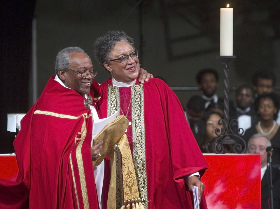 "<p class=""p1""><span class=""s1""><strong>Most Rev. Michael Curry, the first African-American presiding bishop of the Episcopal Church, was chief consecrator on Saturday, May 4, 2019, at Hope Church, for the Rt. Rev. Phoebe A. Roaf's consecration service. Roaf is the Fourth Bishop of the Episcopal Diocese of West Tennessee.&nbsp;</strong>(Lisa Buser/Special to The Daily Memphian)&nbsp;</span>"