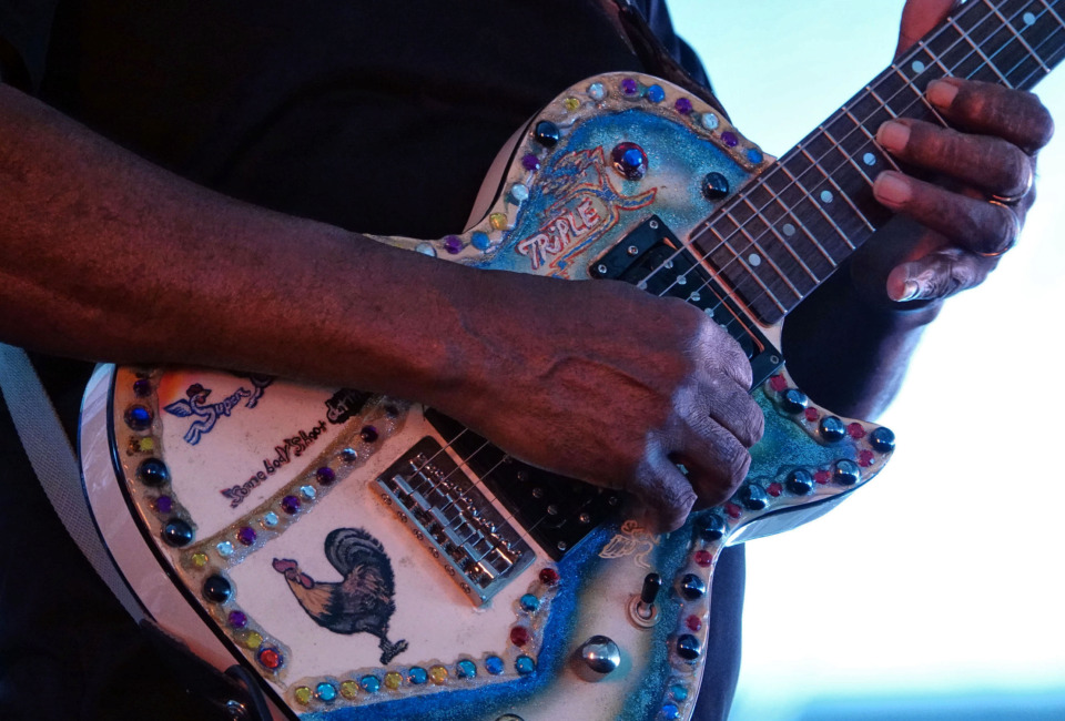 <strong>Mississippi Delta bluesman Super Chikan dazzled blues fans with his fancy guitar at the Beale Street Music Festival on Sunday, May 5.</strong> (Karen Pulfer Focht/Special to the Daily Memphian)