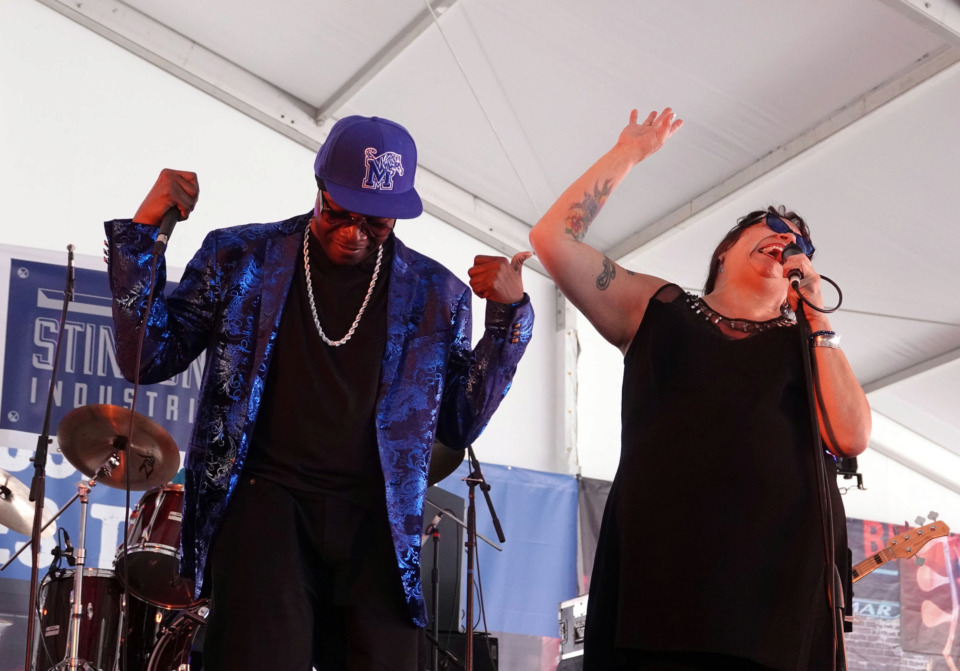 <strong>Barbara Blue belts out some blues while Memphis rapper Al Kapone joins in during a duet in the Blues Tent at the Beale Street Music Festival on Sunday.</strong> (Karen Pulfer Focht/Special to the Daily Memphian)