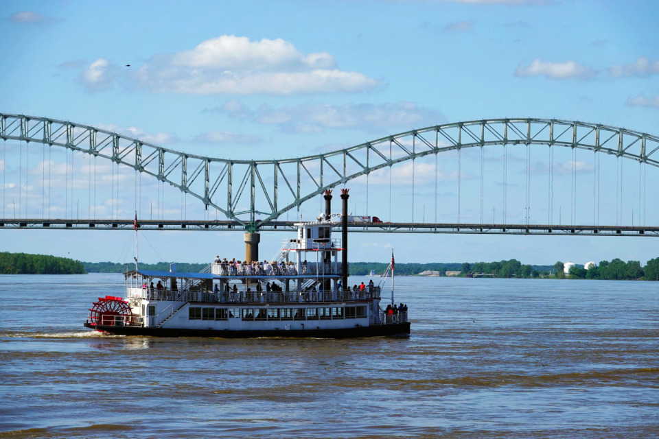 <strong>Passengers on a boat on the Mississippi River catch a glimpse of the Beale Street Music Festival on Sunday.</strong> (Karen Pulfer Focht/Special to the Daily Memphian)