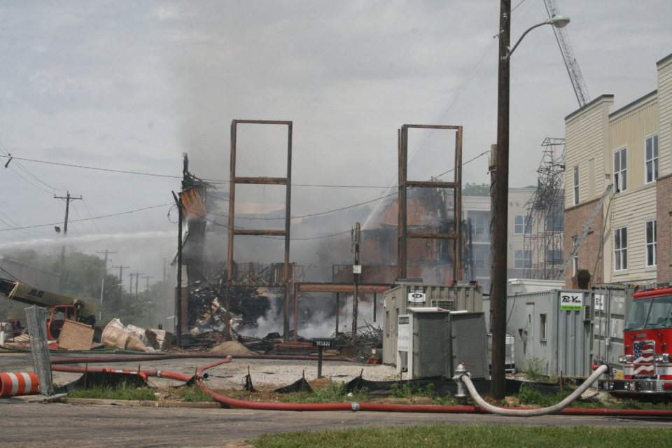 <strong>A fire on Friday morning, May 3, destroyed 55 of the 205 units under construction at Forum Flats.</strong> (Bill Dries/Daily Memphian)
